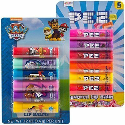 Lip Balm Chapstick Gloss Pez and Paw Patrol Assorted Candy Flavored Pack of 12