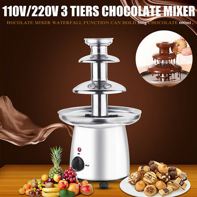 AU Chocolate Fondue Fountain Machine Waterfall Melting 3 Tiers Stainless Steel