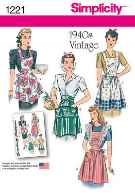 SIMPLICITY SEWING PATTERN 1221 MISSES SZ 10-20 RETRO/VINTAGE STYLE, 1940s APRONS