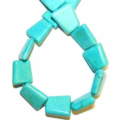 """NG2617f Blue-Green Turquoise 24mm Trapezoid Magnesite Gemstone Beads 16"""""""