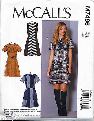 Mccall's Sewing Pattern 7466 Misses Sz 6-14 Panelled Dresses With Princess Seams