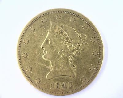 1843 Gold $10 | Circulated Old Gold | Low Pop 75,462 (RC4553)