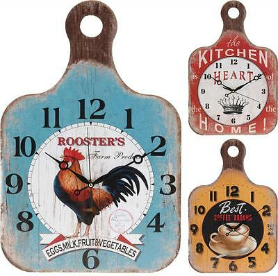 Vintage Retro Wooden Colour Home Kitchen Wall Hanging Clock Choice Of Designs