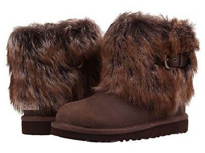 New in Box Kids UGG Australia Ellee Leather Boot 1008178 Chocolate Sizes 4, 5, 6