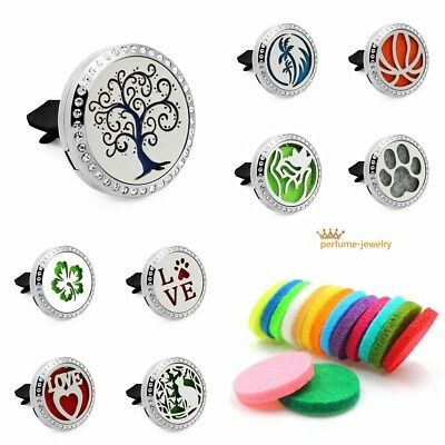 Car Vent Clip Air Freshener perfume Oil Diffuser 316L Steel Locket Free ship NEW