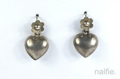 PRETTY LITTLE ANTIQUE LATE VICTORIAN ENGLISH SILVER HEART SHAPED EARRINGS c1890