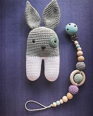 Baby Handmade Wood Crochet Rattle Toy Rabbit Grey Shower Gift Dummy Clip Set
