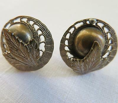 Small Vintage / Antique Brass Screw Back Earrings Maple Leaf Canada 3/4""