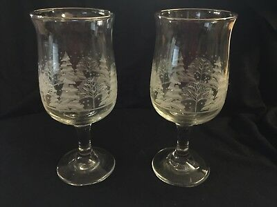Arby's Christmas Winter White Libbey Frosted Pines Set of 2 Glasses