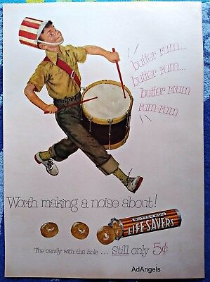 1953 Life Savers Hard Candy Butter Rum Little Boy Drum Worth Making Noise ad