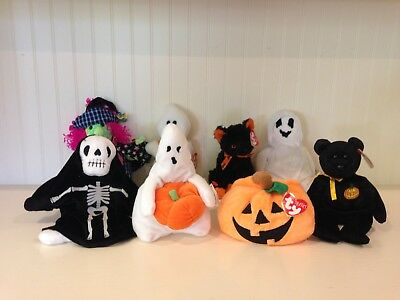 8 Ty Beanie Babies Halloween Scary Haunt Creepers Sheets Plumpkin Pluffies Ghoul