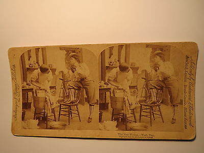 The New Woman - Wash Day - Emanzipation - Waschtag 1897 / Stereofoto Stereobild