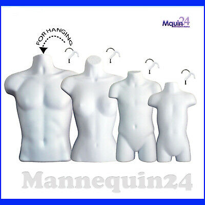 MALE FEMALE CHILD & TODDLER TORSO MANNEQUIN SET - 4 HANGING BODY FORMS w/HANGERS