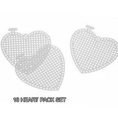 "Darice Canvas Designer 3"" to 4.5""  Plastic Canvas Circles Heart Or Star 10 Pack"