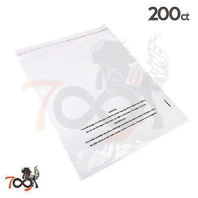 200 1.5 Mil 12x18 Owlpack Clear Poly Adhesive Seal Suffocation Warning FBA Bag