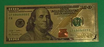"$100 Gold Banknote 999 Pure 24K Dollar Bill Us Currency Stamped ""24K Gold"" On Th"