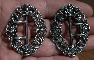 2 Beautiful Antique Solid Sterling Silver Art Nouveau Belt Buckles LOT