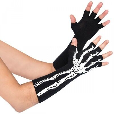 Glow in the Dark Fingerless Skeleton Gloves Costume Accessory Adult Halloween