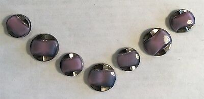 Vintage Art Deco Amethyst Moonglow & Silver Luster 7 Pc Sets  Purple