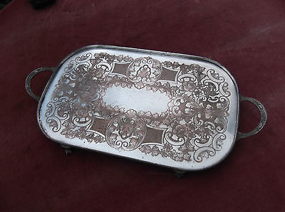 Art Deco Heavy Silver Plated Copper Salver/table Tray/drinks/serving Tray/salver