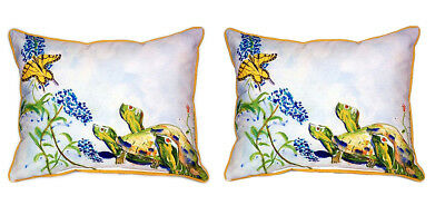Pair of Betsy Drake Turtles and Butterfly Large Indoor/Outdoor Pillows 16x20