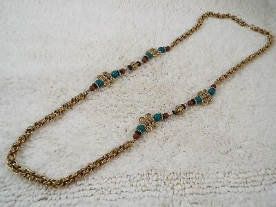 Green Brown Bead Goldtone Chain Necklace (B24)