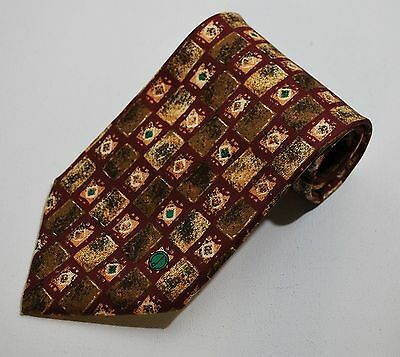 "Mens Dunhill Wine, Green, Antique Gold 55"" Silk Tie"