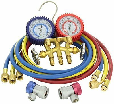 Mastercool 84772G Brass R134A 2 Way Manifold Gauge Set with 72in. Hoses
