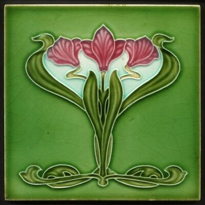 TH2965 Excellent & Rare Art Nouveau Majolica Tile Henry Richards c.1905