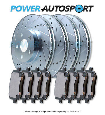 CERAMIC PADS 56702PK POWER CROSS DRILLED SLOTTED PLATED BRAKE ROTORS FRONT