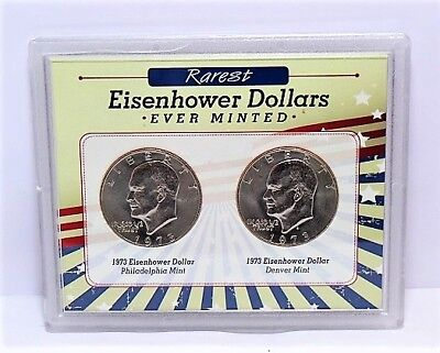 Set of Two 1973 Rarest Eisenhower Dollars Ever Minted
