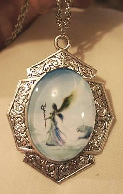 Lovely Art Deco-Inspire Warrior Angel Fairy Lady Tiger Silvertn Cameo Necklace