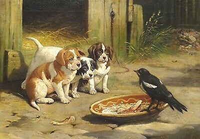 Fine 19th Century French Tree Puppy Dogs & Bird Yard Scene Antique Oil Painting