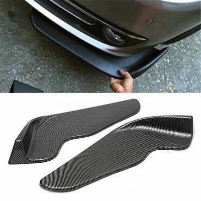 Pair Winglet Type Carbon Fiber Style Front Bumper Lip Diffuser Splitters Canard