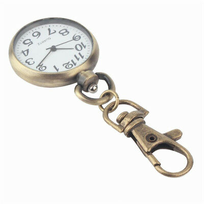 Key ring Watch Pocket Round Retro Bronze Quartz Vintage Pocket Watch Movement