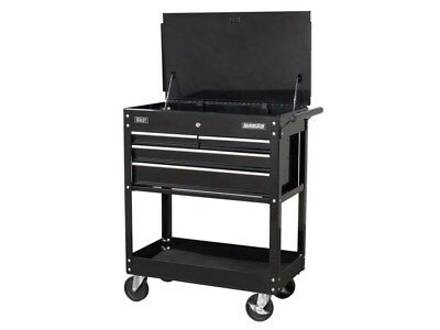 Heavy Duty Mobile Tool & Parts Trolley with 4 Drawers & Lockable Top - Black