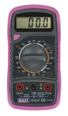 Sealey Mm20P Digital Multimeter Volt Meter 7 Function With Thermocouple Pink