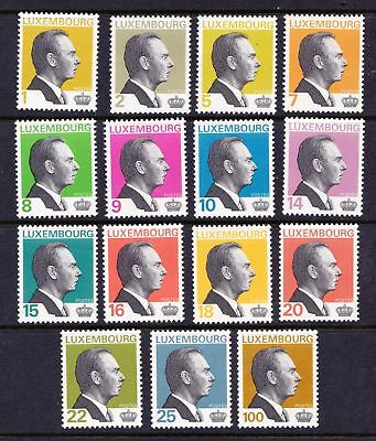 Luxembourg 1993 - 2000 Grand Duke Jean Definitives - 15 MNH values - (23)