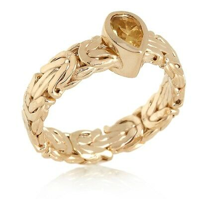 Technibond Pear Citrine Byzantine Band Ring 14K Yellow Gold Clad Silver HSN