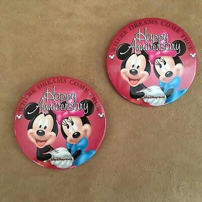 Walt Disney World Happy Anniversary pair 2 button minnie mickey mouse lot