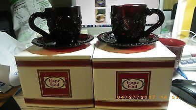 MIB Avon 1876 Cape Cod Ruby Red Cup & Saucer TWO sets lot-2