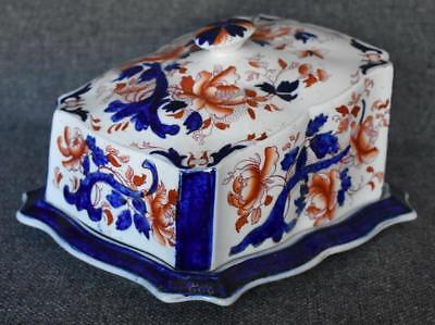 Gorgeous Victorian Antique Flow Blue Gaudy Dutch Colorations Covered Cheese Dome
