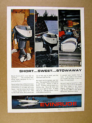 1964 Evinrude Sportwin 9 1/2 hp Outboard Motor 4x photo vintage print Ad