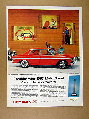 1963 Rambler Classic-Six 770 red Sedan Skiers Ski lodge theme vintage print Ad