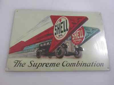 SHELL OIL PETROL THE SUPREME Tin Metal Sign Retro Vintage 3D Oil & Gas Station