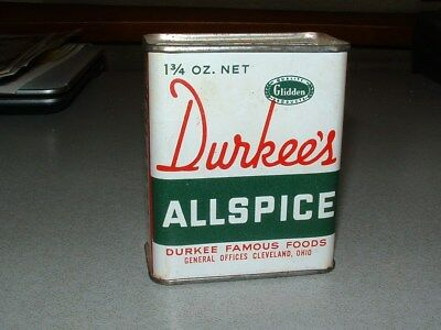 Durkee's Allspice tin, vintage 1950's, NOS, New Old Stock