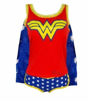Wonder Woman Symbol Ladies Junior Camisole And Panty Set With Cape