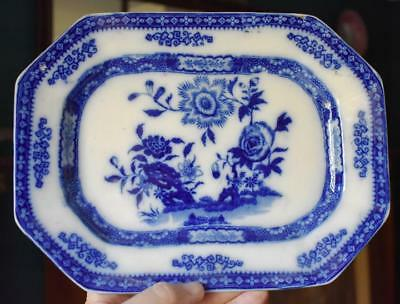 "Maddock Antique Flow Blue Floral Motif ""canton"" Ironstone Sm Rectangular Platter"