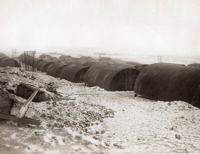 Belgium or France? WWI Nissen Huts Rest Camp Western Front Old Photo 1914-1918