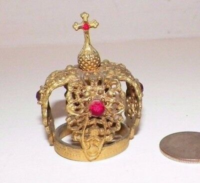 """Small Goldtone & Rhinestone Santos Religious Crown For Statue Or Display 2 1/4"""""""